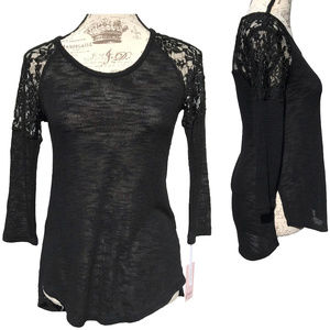 NWT Candie's HOT Lace Blouse Black Top Sexy Goth S